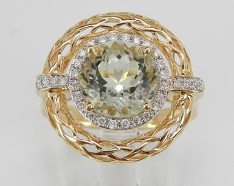Diamond and Green Amethyst Ring Halo Statement Ring 14K Yellow Gold Size 7