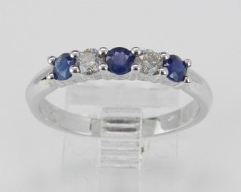 Diamond and Sapphire Wedding Ring Anniversary Band White Gold Size 7.25 Blue
