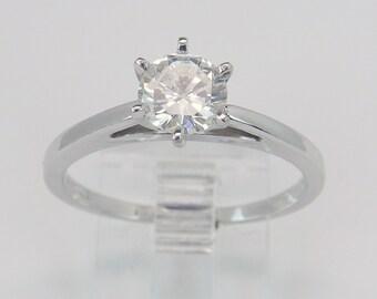 Diamond Solitaire Engagement Ring 14K White Gold .72 ct Round Brilliant Size 7.5 H VS2