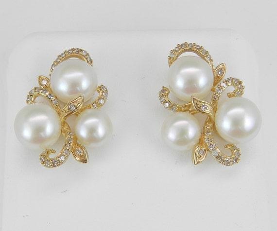 Pearl and Diamond Cluster Earrings Yellow Gold June Birthstone Wedding Earrings
