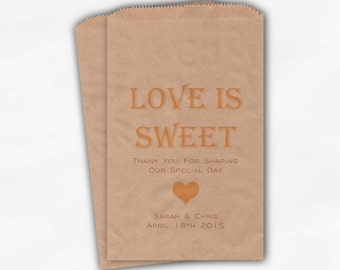 Love Is Sweet Candy Buffet Treat Bags - Personalized Wedding Favor Bags in Peach and Gold - Custom Kraft Paper Bags (0167)