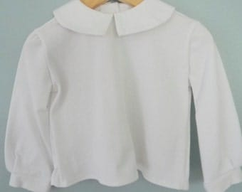 Peter Pan Collar Boys Long Sleeved KNIT Shirt- Sizes 3 months-6 Ready to Ship