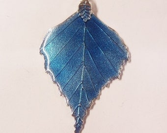 72mm*46mm*2mm, Blue Enamel Leaf Pendant, N001