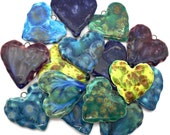 RESERVED FOR JULIE............Double Sided Heart Pendants Handmade Ceramic X 2