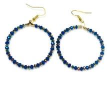 Beaded Hoop Earrings, Crystal Earrings, Fashion Earrings, Girl's Jewelry, Blue Crystals