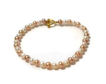Cultured Pearls Anklet / Two Color Pearl Anklet / Freshwater Pearl Anklet / Round Cultured Freshwater Pearls Anklet / Women's Pearl Anklet