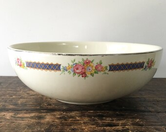 Vintage Hall Pottery 9 Inch Salad Bowl in Bouquet Platinum Pattern