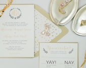Modern Sheek White Black and Gold Wedding Invitation Suite RESERVED