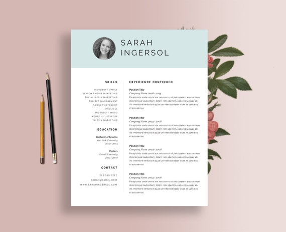items similar to resume templates word blue header