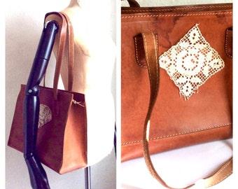 Vintage shoulder Bag Cognac Leather Womens handbag ith antique crochet lace Large bag shopper Luggage travel boho