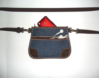 Denim Fanny Pack mini belt purse with two pocket Small Hip Bag cellphone crossbody Cute Mini Wallet hipster passport canvas bag Blue Brown