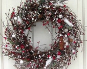 WREATH SALE Holiday Wreath - Red, Green & Ivory Pip Berry Wreath - Christmas Wreath - Winter Wreath - Winter Red Berry Wreaths - Pine Cone W