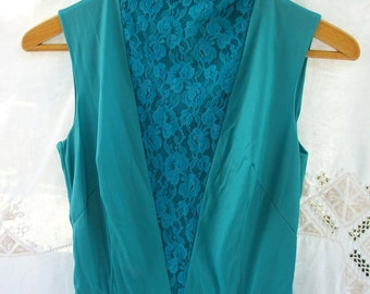 Jumpsuit ~ Lace Front ~ Jer Marai ~ Chic Teal Blue Toned ~ 1960's /70's era  Lounge wear Pajamas  ~ Sleeveless /Belted ~ Sweet Fem
