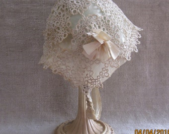 Edwardian Antique Silk and Tatted Lace Cap for Baby Gorgeous Heirloom