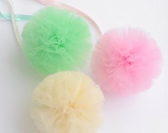 "10 small Tulle pom poms value  set - size 5""/13 cm   - custom colors - Wedding /Party Decoration /Tutu /baby shower"