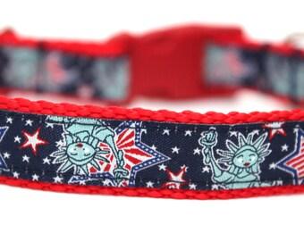 "Patriotic Dog Collar 3/4"" July Dog Collar SIZE SMALL"