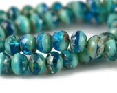 25 Czech Turquoise and Transparent Blue with Picasso - 7x5mm Rondelle - Faceted