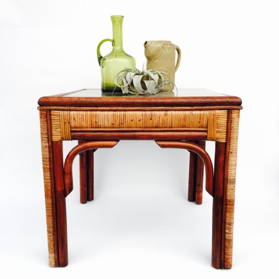 Rattan Coffee Table Etsy: Bamboo And Rattan Side Table Glass Top Vintage Boho