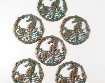 Brass Filigree, Brass Seahorse Stampings, Fish Stampings, Beach Jewelry, Aqua Copper Patina, US Made, Nickel Free, 51mm, B'sue, Item04722