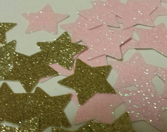 Twinkle Twinkle little star birthday party or baby shower decor confetti blush pink gold table or invitation scatter decor