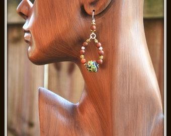 African Bead Earrings, Ethic Earrings, African Painted Glass Earrings, Tribal Earrings, Ethnic Dangles, Ethnic Jewelry