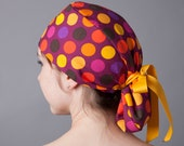 Surgery Hat, Scrub cap, Ponytail Scrub cap, Surgery cap~ Fall Polka Dot