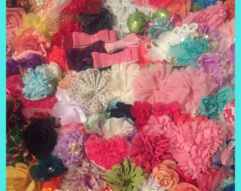 Grab Bag Flowers - 20 flower/bow tops- mixed lot