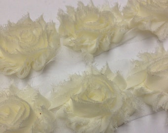 By the yard -Ivory- off white- Shabby Flowers/ Shabby Trim/ Shabby Chic --full yard approx. 14 flowers. -1/2 yard, approx. 7 flowers