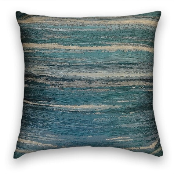 Green Blue Striped Decorative Throw Pillow by CodyandCooperDesigns