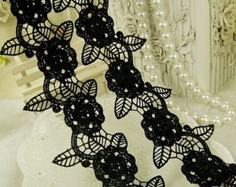2 3/4 inch wide black lace selling by the yard