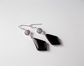 Labradorite Earrings, Gemstone Jewelry, Gift Ideas for Her, Black Agate Earrings, Modern Jewelry