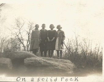 """Vintage Photo """"On A Solid Rock"""" Friends Posed On Rock Formation Handwritten Caption Found Photo"""