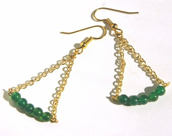 Triangle Earring with Natural stones