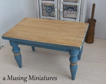 NEW COLOR Kitchen Table Colonial Blue in 1:12 Scale for Dollhouse Miniature Country Farmhouse