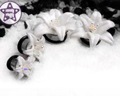 """White Wedding Lily Flower Plug / Gauge 3D Printed Iridescent Prom Office ONE Plug Only 1/2"""" 9/16"""" 5/8"""" 11/16"""" / 12mm 13mm 14mm 16mm 18mm"""