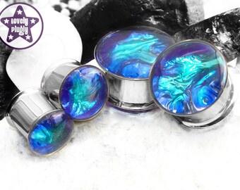 "Aurora Borealis Plug / Gauge Blue Green Purple Faux Dichro Dichroic Iridescent Wedding Prom 00g, 7/16"" / 10mm, 11mm"