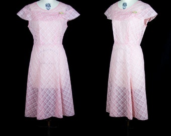 1930s Dress // Pink Organdy Plaid Embroidered Ruffle Cape Collar Dress