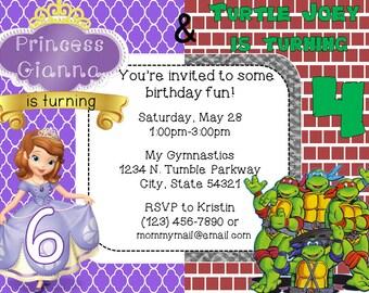 Custom Sofia & Ninja Turtles Combo Invitation