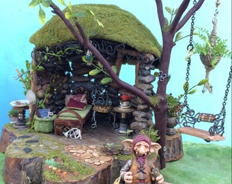 Fairy Garden House with Furnishings Ooak