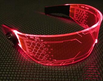 The original Illuminated Cyber goth visor WARCHIEF Red