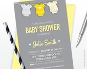 Baby Shower Invitation - Yellow bodysuit Neutral theme - PRINTABLE JPEG or PDF file