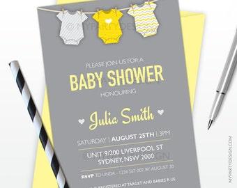 Baby Shower Invitation - Yellow bodysuit Neutral theme - PRINTABLE JPEG or PDF file
