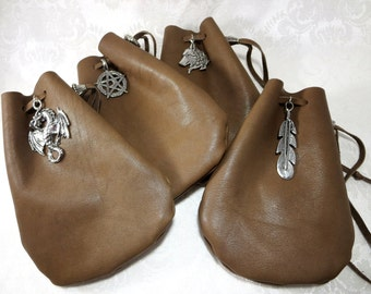 Brown Leather Drawstring Pouch / Medieval Fantasy Rune Bag / Magic Crystal Dice Bag / SCA LARP Costume Pouch / Pagan Totem Herb Pouch