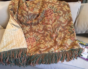 Moroccan Throw Blanket, Tapestry, Chenille, Old World Bedding, Wall Hanging, Decorative Throw