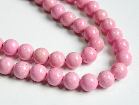 Riverstone beads in pink round gemstone 10mm full strand 9452GS