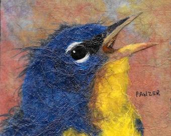 "Print  "" Bluebird of Happiness ""  Signed Giclee Print 6X6 Bird Avian Bluebird  Blue and Yellow Square Art, Tweet,"