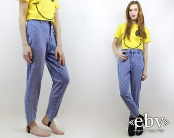 Vintage 80s High Waisted Stirrup Jeans S 26 Mom Jeans Skinny Jeans Hipster Jeans High Waisted Jeans Stirrup Pants High Waist Jeans