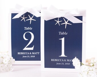 Beach Wedding Table Number Tent Cards - Beach Wedding Table Markers - Beach Wedding Decor - Starfish Wedding Table Tents