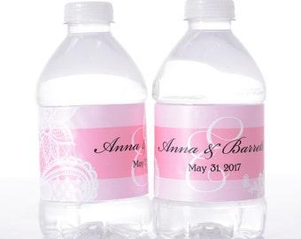 Vintage Wedding Water Labels - Waterproof Water Bottle Labels - Custom Wedding Water Bottle Labels - Lace Wedding Decor