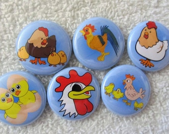 chicken magnets, chicken pins, set of 6 magnets or pins, fridge magnets, button pins, choose your size and color